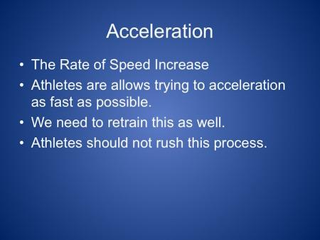 Speed Development for Sprinters