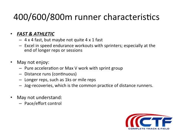 runner characteristics 400/800m